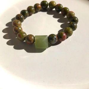 Unisex Unakite Jasper bracelet/ stretchable